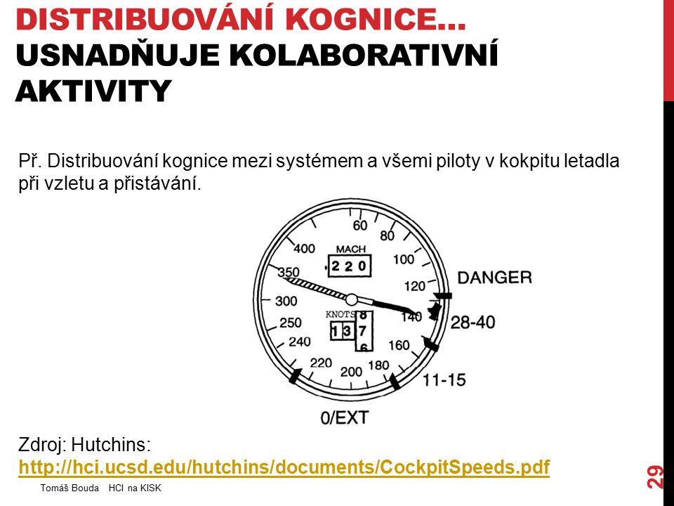 DISTRIBUOVÁNÍ KOGNICE… USNADŇUJE KOLABORATIVNÍ AKTIVITY Tomáš Bouda HCI na KISK 29 Př. Distribuování kognice mezi systémem a všemi piloty v kokpitu le