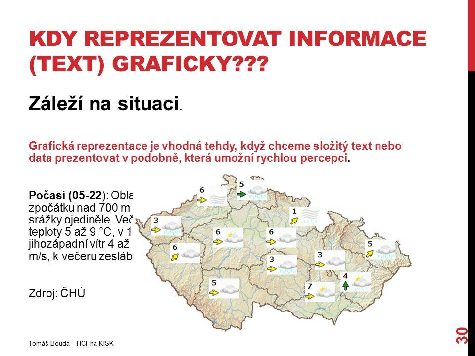 KDY REPREZENTOVAT INFORMACE (TEXT) GRAFICKY??? Záleží na situaci. Grafická reprezentace je vhodná tehdy, když chceme složitý text nebo data prezentova