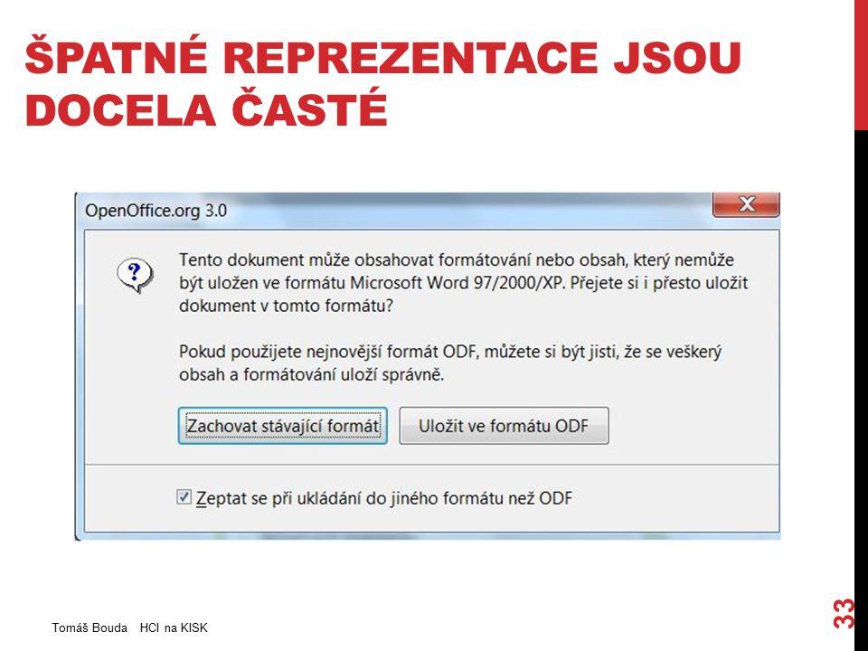 ŠPATNÉ REPREZENTACE JSOU DOCELA ČASTÉ Tomáš Bouda HCI na KISK 33