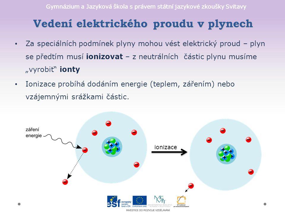 """Gymnázium a Jazyková škola s právem státní jazykové zkoušky Svitavy Vedení elektrického proudu v plynech Za speciálních podmínek plyny mohou vést elektrický proud – plyn se předtím musí ionizovat – z neutrálních částic plynu musíme """"vyrobit ionty Ionizace probíhá dodáním energie (teplem, zářením) nebo vzájemnými srážkami částic."""