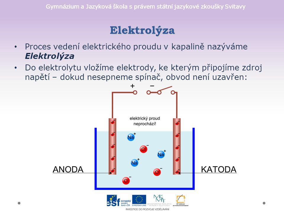 Gymnázium a Jazyková škola s právem státní jazykové zkoušky Svitavy Elektrolýza Proces vedení elektrického proudu v kapalině nazýváme Elektrolýza Do e