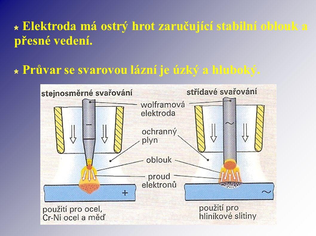 Elektroda má ostrý hrot zaručující stabilní oblouk a přesné vedení.
