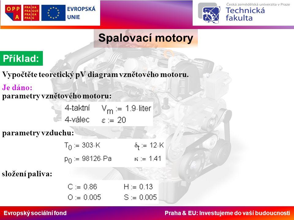 Evropský sociální fond Praha & EU: Investujeme do vaší budoucnosti Spalovací motory 2.20 Množství pracovní náplně 2.21 Množství zplodin hoření 2.22 Celkové množství zplodin na konci hoření 2.23 Molová teplota zduchu na konci komprese