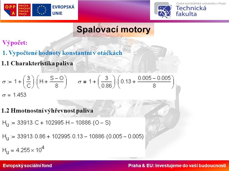 Evropský sociální fond Praha & EU: Investujeme do vaší budoucnosti Spalovací motory 1.3 Molový objem 1.4 Teoretické množství kyslíku molové 1.5 Teoretické množství kyslíku objemové 1.6 Teoretické množství kyslíku hmotnostní