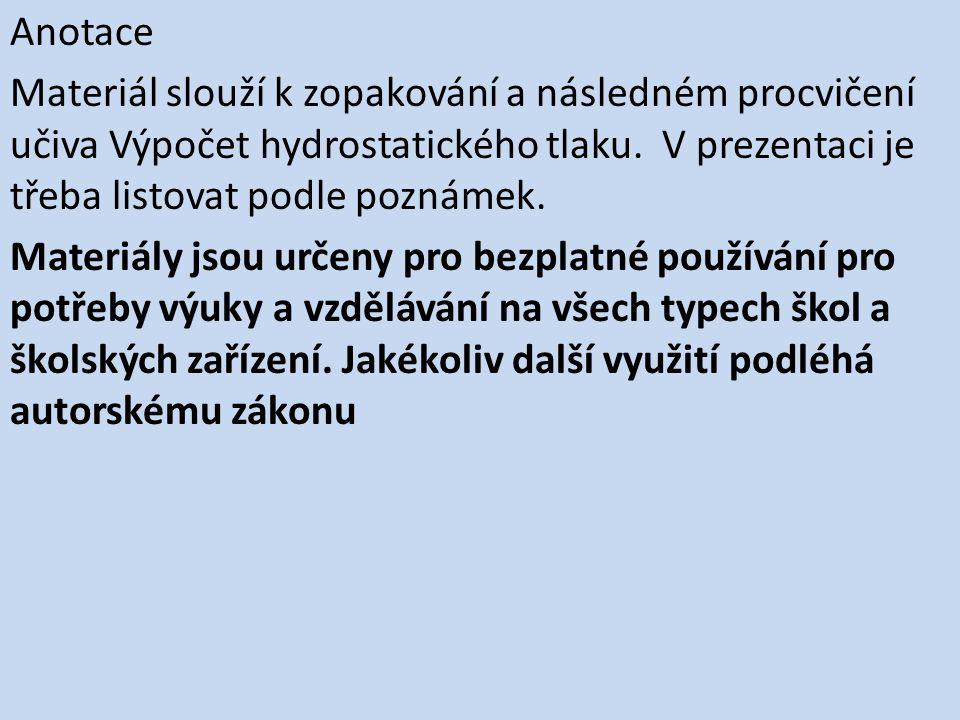 Hydrostatický tlak Výpočty