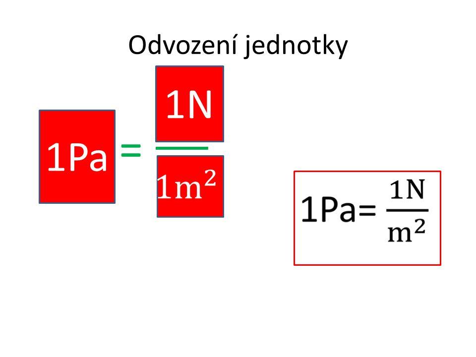 Odvození jednotky p = S 1Pa 1N