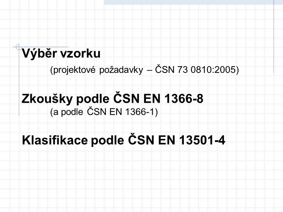 Výběr vzorku (projektové požadavky – ČSN 73 0810:2005) Zkoušky podle ČSN EN 1366-8 (a podle ČSN EN 1366-1) Klasifikace podle ČSN EN 13501-4