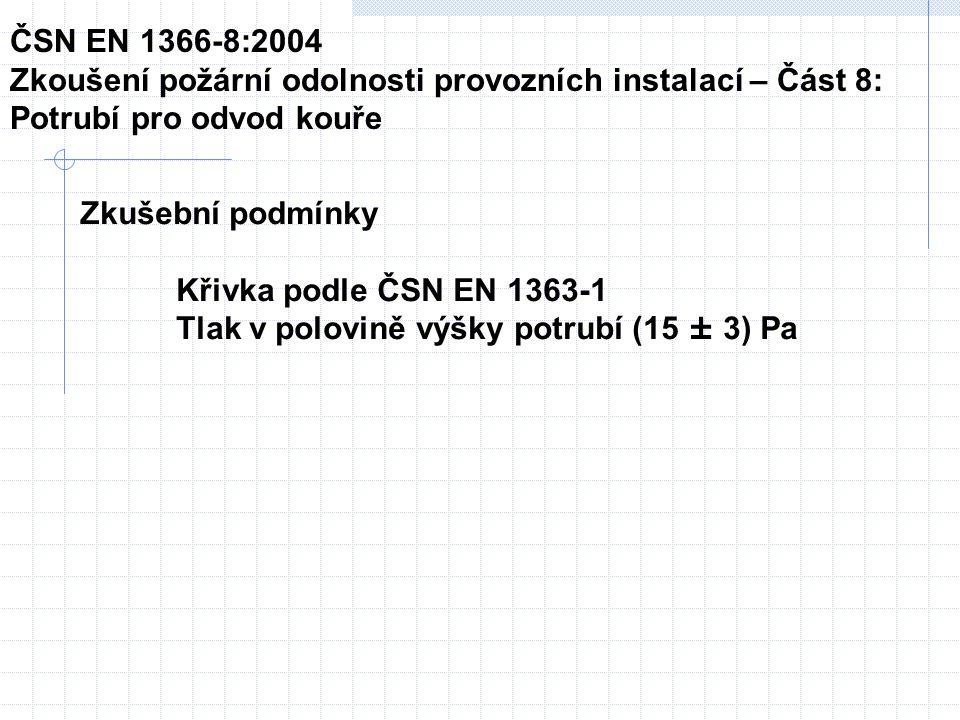 Zkušební podmínky Křivka podle ČSN EN 1363-1 Tlak v polovině výšky potrubí (15 ± 3) Pa ČSN EN 1366-8:2004 Zkoušení požární odolnosti provozních instalací – Část 8: Potrubí pro odvod kouře