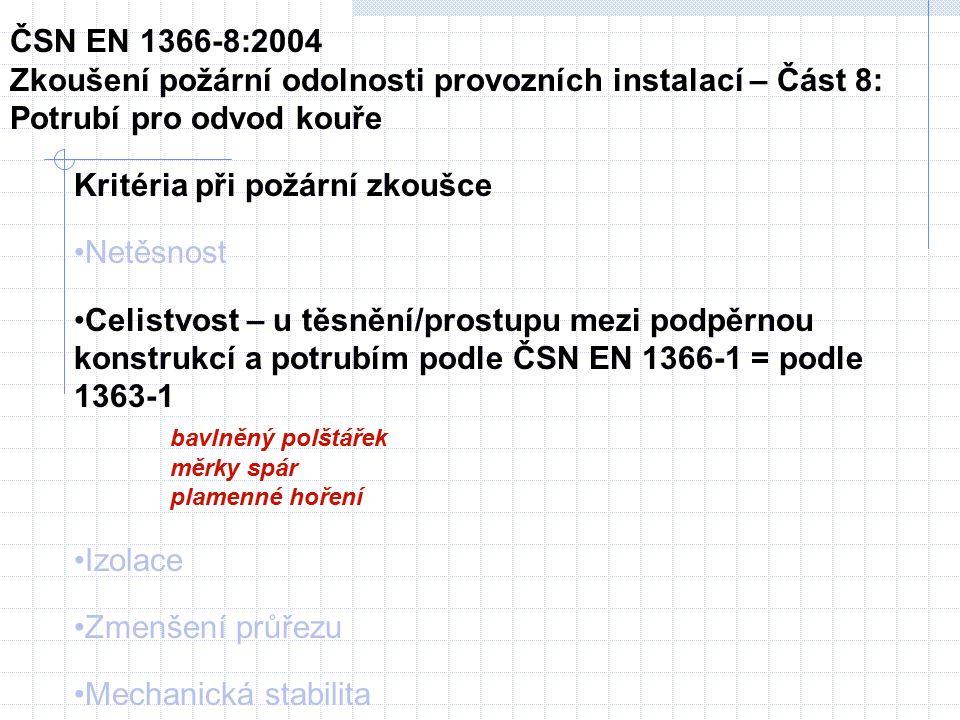 Kritéria při požární zkoušce Netěsnost Celistvost – u těsnění/prostupu mezi podpěrnou konstrukcí a potrubím podle ČSN EN 1366-1 = podle 1363-1 bavlněný polštářek měrky spár plamenné hoření Izolace Zmenšení průřezu Mechanická stabilita ČSN EN 1366-8:2004 Zkoušení požární odolnosti provozních instalací – Část 8: Potrubí pro odvod kouře