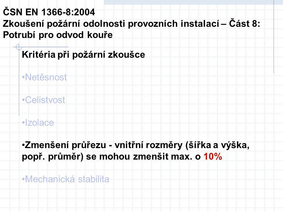 Kritéria při požární zkoušce Netěsnost Celistvost Izolace Zmenšení průřezu - vnitřní rozměry (šířka a výška, popř.