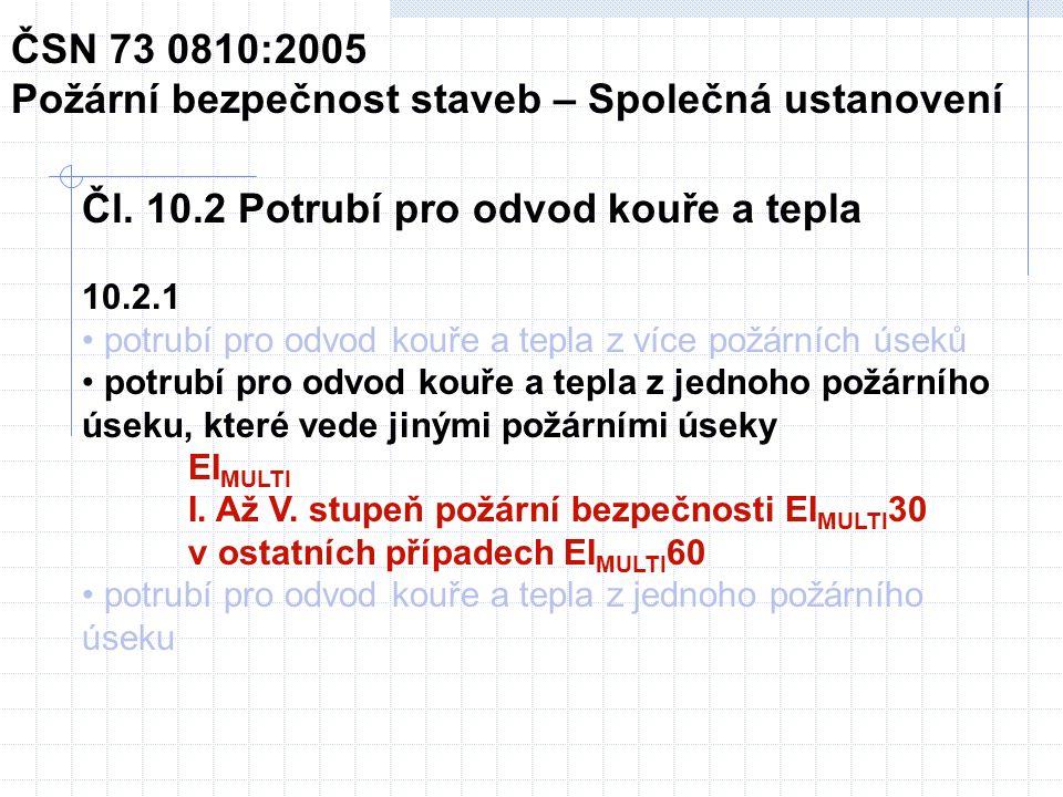 Rozměry zkušebního vzorku ČSN EN 1366-8:2004 Zkoušení požární odolnosti provozních instalací – Část 8: Potrubí pro odvod kouře