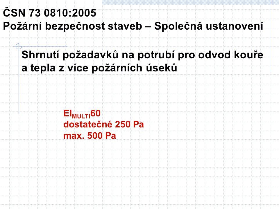 ČSN EN 1366-8:2004 Zkoušení požární odolnosti provozních instalací – Část 8: Potrubí pro odvod kouře 1 Předmět normy Plně rozvinutý požár Platí pouze pro požárně odolná potrubí A a B podle ČSN EN 1366-1 Potrubí A musí být zkoušeno při tlaku 500 Pa (dle ČSN EN 1366-1 300 Pa) Potrubí zkoušené podle ČSN EN 1366-8 = potrubí C Pro potrubí C - stačí zkouška vodorovného, pokud zkoušky podle ČSN EN 1366-1 byly ve i ho systém není využíván výhradně ve svislé aplikaci Pro potrubí z materiálů třídy reakce na oheň A1 a A2 Pouze pro čtyřhranná potrubí