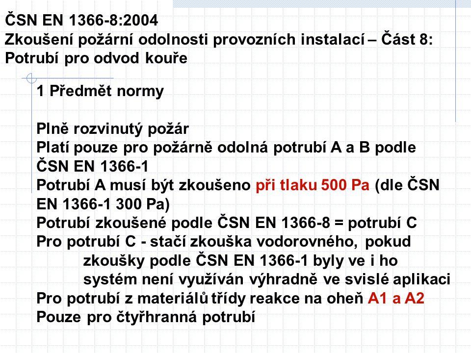 Tabulka 1 Úroveň tlakuProvozní tlakový diferenciál při teplotě okolí Pa Tlakový diferenciál při zkoušce a při kalibraci před zkouškou Pa 1-500-150 2-1 000-300 3-1 500-500 ČSN EN 1366-8:2004 Zkoušení požární odolnosti provozních instalací – Část 8: Potrubí pro odvod kouře