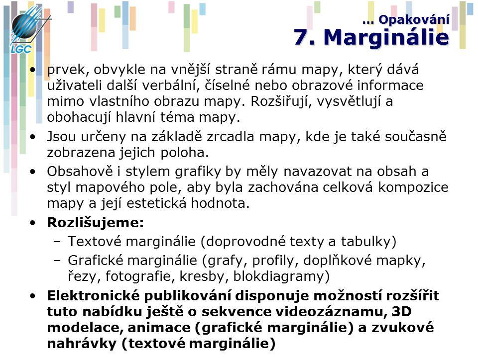 … Opakování 7. Marginálie prvek, obvykle na vnější straně rámu mapy, který dává uživateli další verbální, číselné nebo obrazové informace mimo vlastní