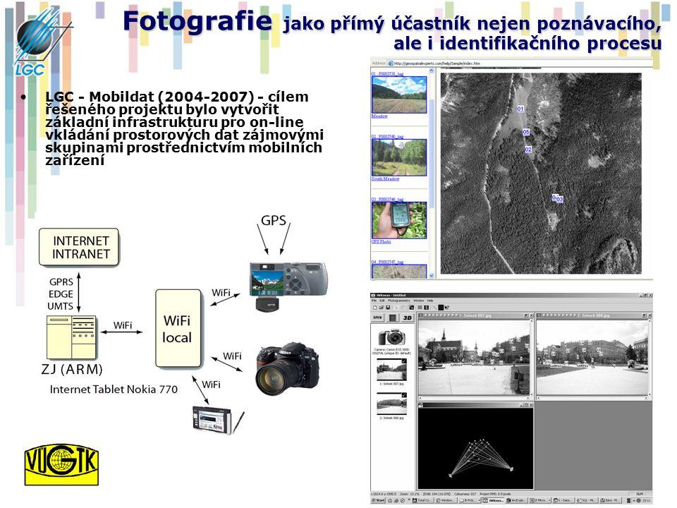 Fotografie jako přímý účastník nejen poznávacího, ale i identifikačního procesu LGC - Mobildat (2004-2007) - cílem řešeného projektu bylo vytvořit základní infrastrukturu pro on-line vkládání prostorových dat zájmovými skupinami prostřednictvím mobilních zařízení