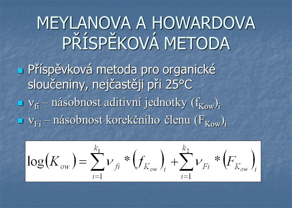 MEYLANOVA A HOWARDOVA PŘÍSPĚKOVÁ METODA Příspěvková metoda pro organické sloučeniny, nejčastěji při 25°C Příspěvková metoda pro organické sloučeniny, nejčastěji při 25°C fi – násobnost aditivní jednotky (f Kow ) i fi – násobnost aditivní jednotky (f Kow ) i Fi – násobnost korekčního členu (F Kow ) i Fi – násobnost korekčního členu (F Kow ) i