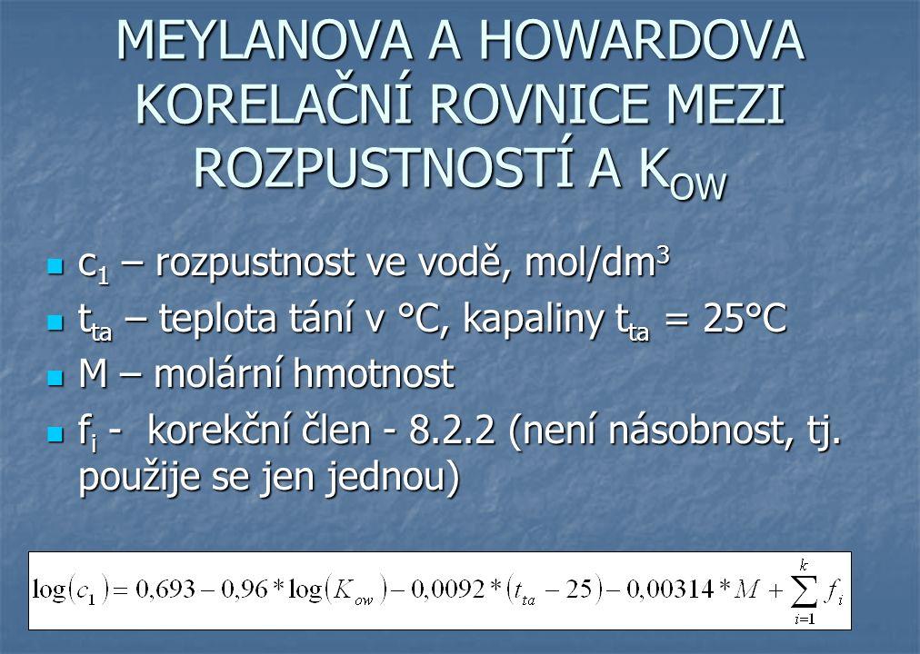 MEYLANOVA A HOWARDOVA KORELAČNÍ ROVNICE MEZI ROZPUSTNOSTÍ A K OW c 1 – rozpustnost ve vodě, mol/dm 3 c 1 – rozpustnost ve vodě, mol/dm 3 t ta – teplota tání v °C, kapaliny t ta = 25°C t ta – teplota tání v °C, kapaliny t ta = 25°C M – molární hmotnost M – molární hmotnost f i - korekční člen - 8.2.2 (není násobnost, tj.