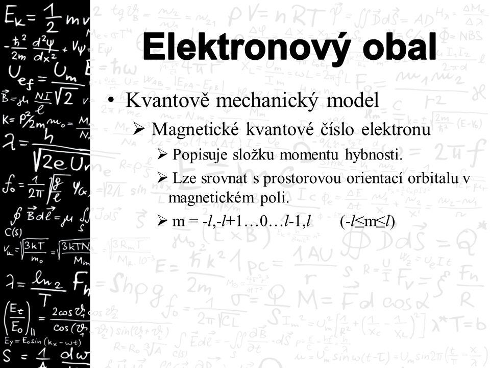Kvantově mechanický model  Magnetické kvantové číslo elektronu  Popisuje složku momentu hybnosti.