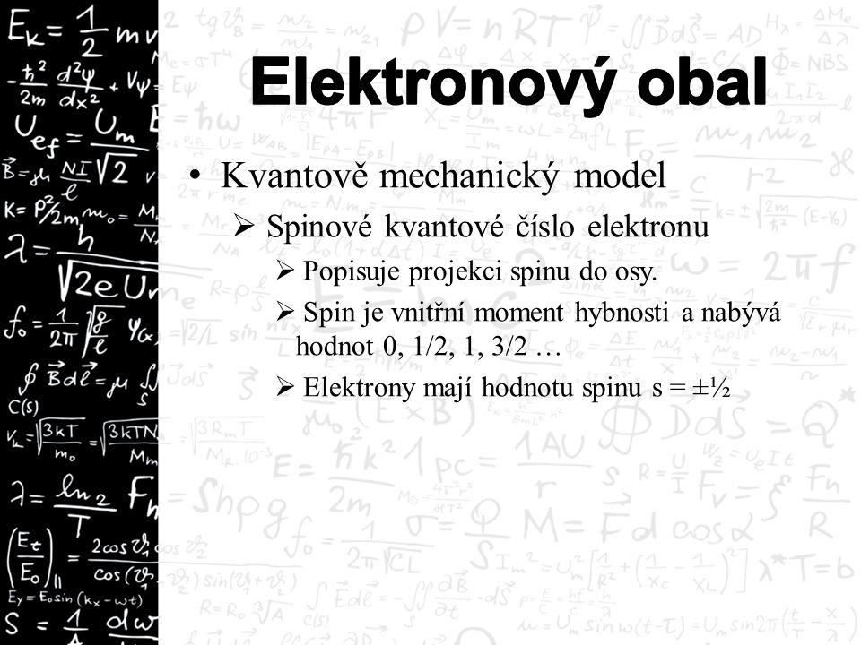 Kvantově mechanický model  Spinové kvantové číslo elektronu  Popisuje projekci spinu do osy.