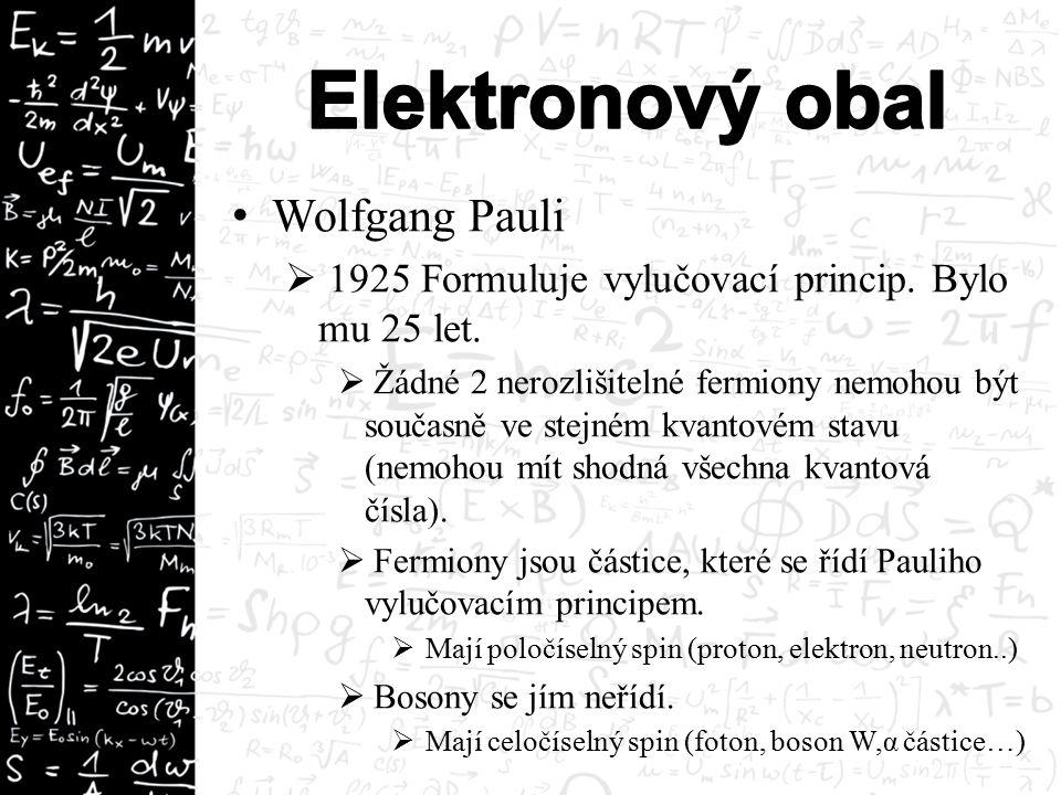 Wolfgang Pauli  1925 Formuluje vylučovací princip.