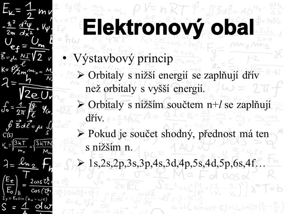 Výstavbový princip  Orbitaly s nižší energií se zaplňují dřív než orbitaly s vyšší energií.