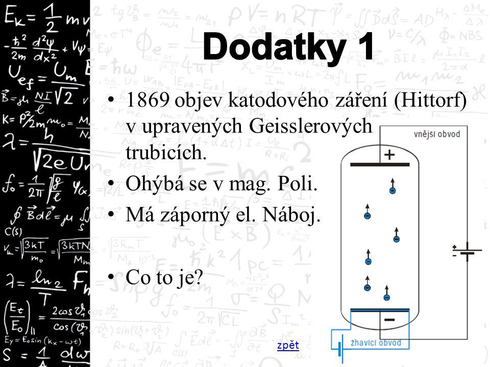 1869 objev katodového záření (Hittorf) v upravených Geisslerových trubicích.