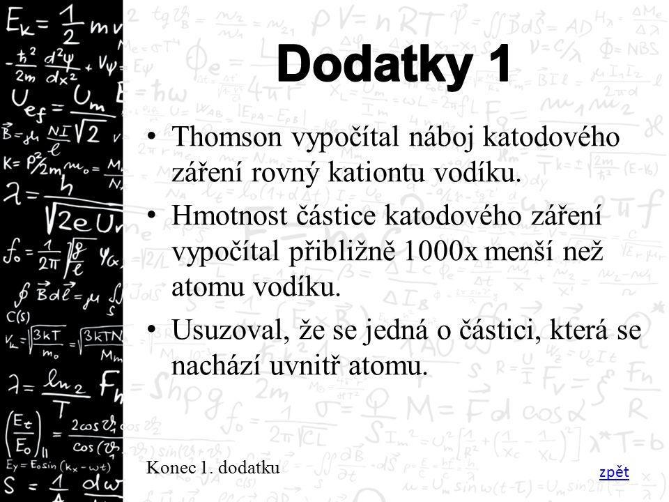 Thomson vypočítal náboj katodového záření rovný kationtu vodíku.