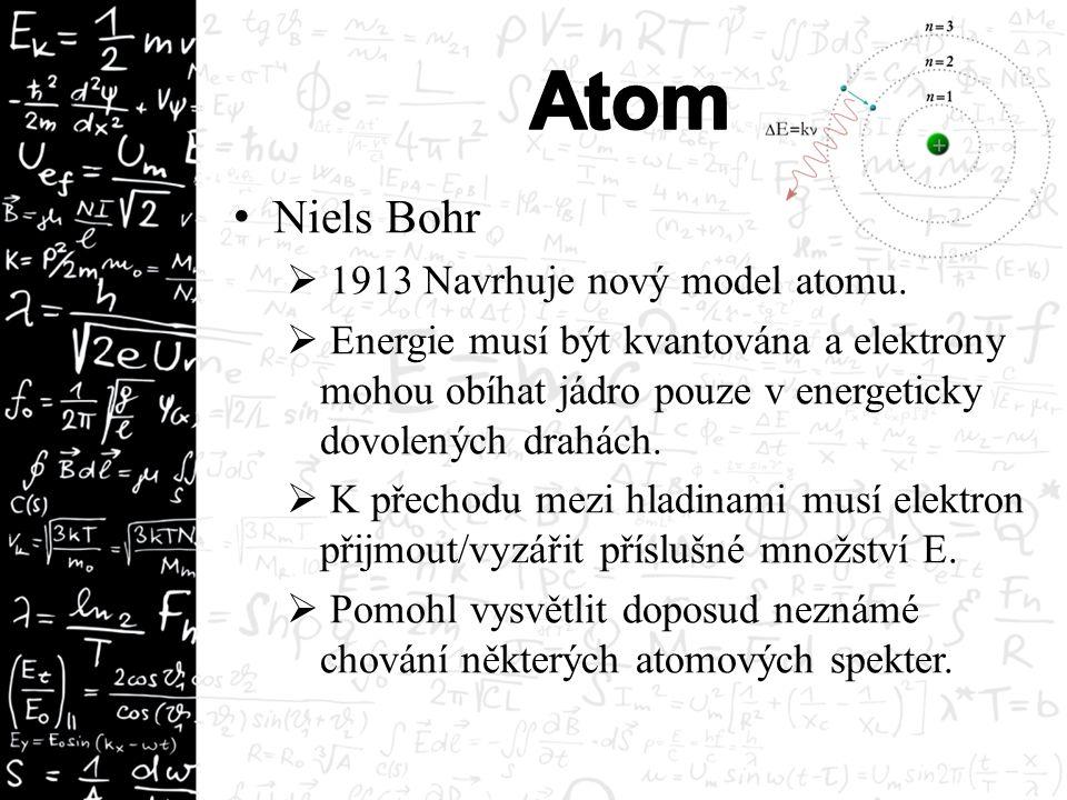 Niels Bohr  1913 Navrhuje nový model atomu.