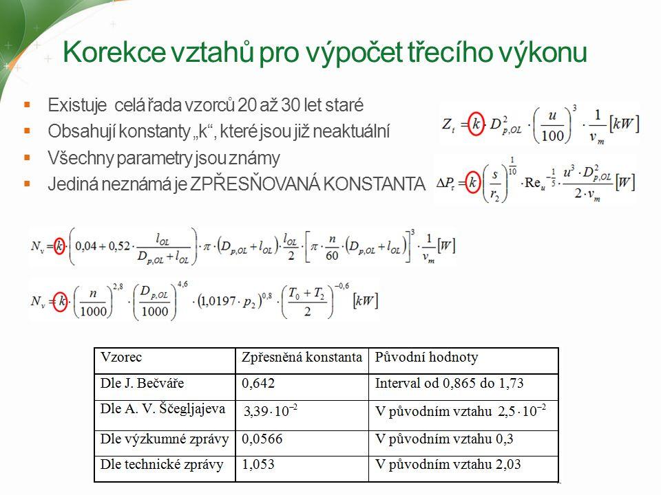 """Korekce vztahů pro výpočet třecího výkonu  Existuje celá řada vzorců 20 až 30 let staré  Obsahují konstanty """"k , které jsou již neaktuální  Všechny parametry jsou známy  Jediná neznámá je ZPŘESŇOVANÁ KONSTANTA"""