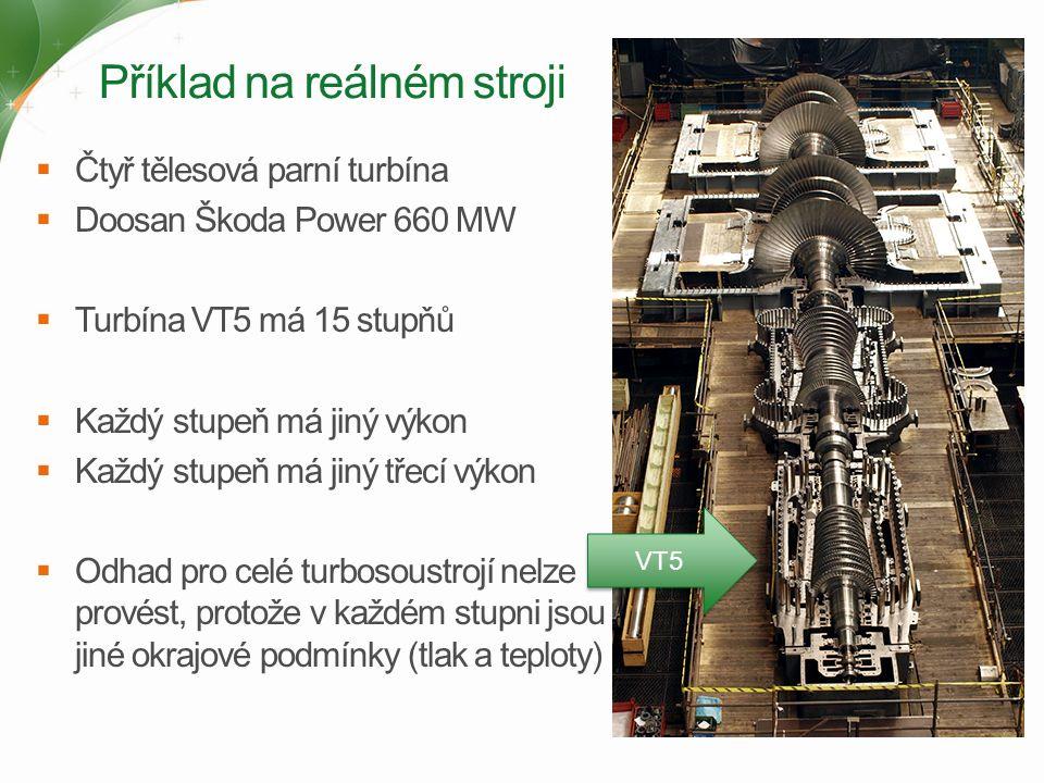 Příklad na reálném stroji  Čtyř tělesová parní turbína  Doosan Škoda Power 660 MW  Turbína VT5 má 15 stupňů  Každý stupeň má jiný výkon  Každý stupeň má jiný třecí výkon  Odhad pro celé turbosoustrojí nelze provést, protože v každém stupni jsou jiné okrajové podmínky (tlak a teploty) VT5