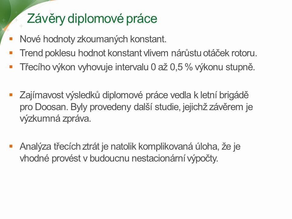 Závěry diplomové práce  Nové hodnoty zkoumaných konstant.