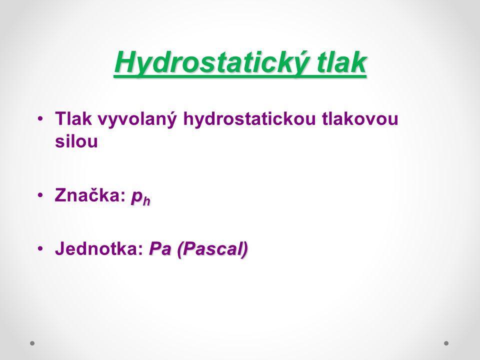 Hydrostatický tlak Tlak vyvolaný hydrostatickou tlakovou silou p hZnačka: p h Pa (Pascal)Jednotka: Pa (Pascal)