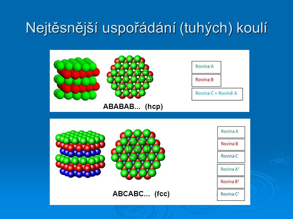 Nejtěsnější uspořádání (tuhých) koulí ABABAB... (hcp) ABCABC... (fcc)