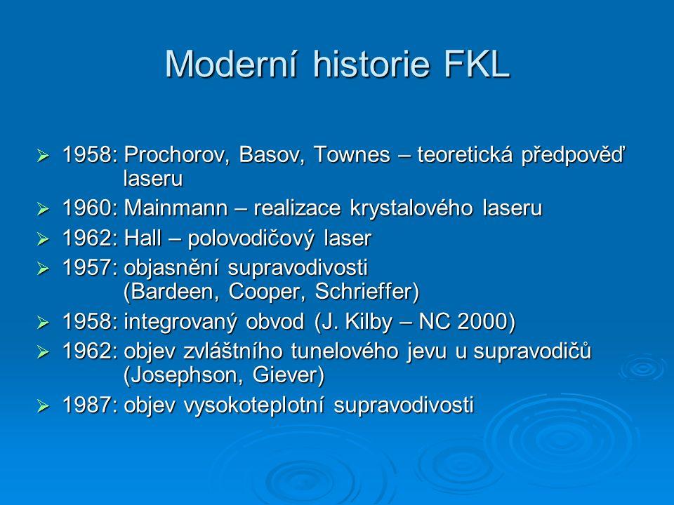 Moderní historie FKL  1958: Prochorov, Basov, Townes – teoretická předpověď laseru  1960: Mainmann – realizace krystalového laseru  1962: Hall – po