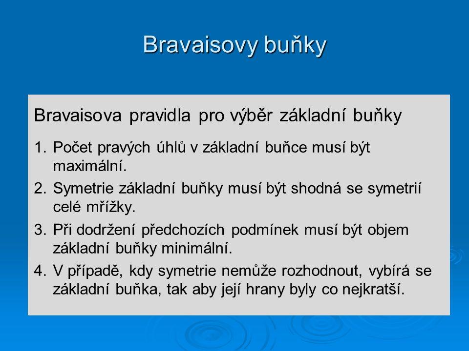 Bravaisovy buňky Bravaisova pravidla pro výběr základní buňky 1. 1.Počet pravých úhlů v základní buňce musí být maximální. 2. 2.Symetrie základní buňk