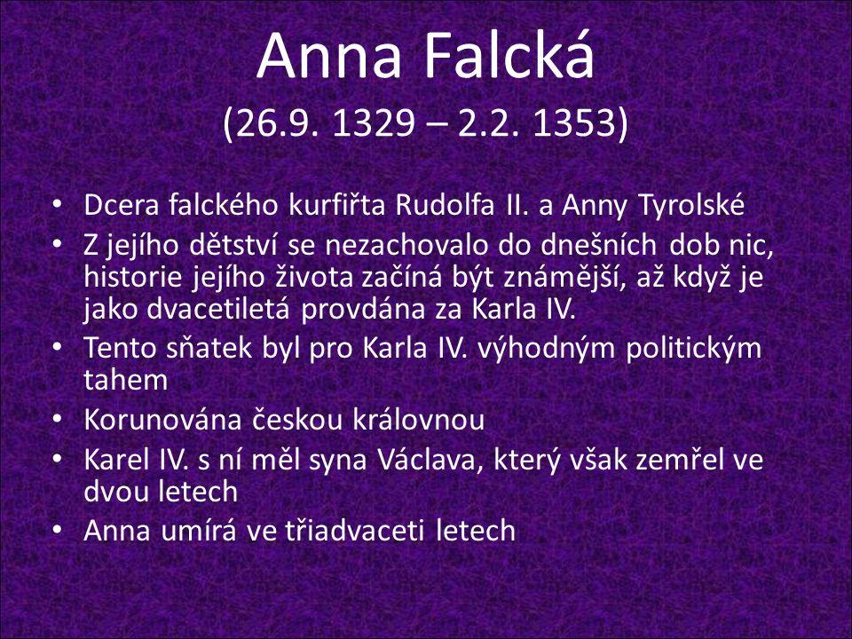Anna Falcká (26.9. 1329 – 2.2. 1353) Dcera falckého kurfiřta Rudolfa II. a Anny Tyrolské Z jejího dětství se nezachovalo do dnešních dob nic, historie