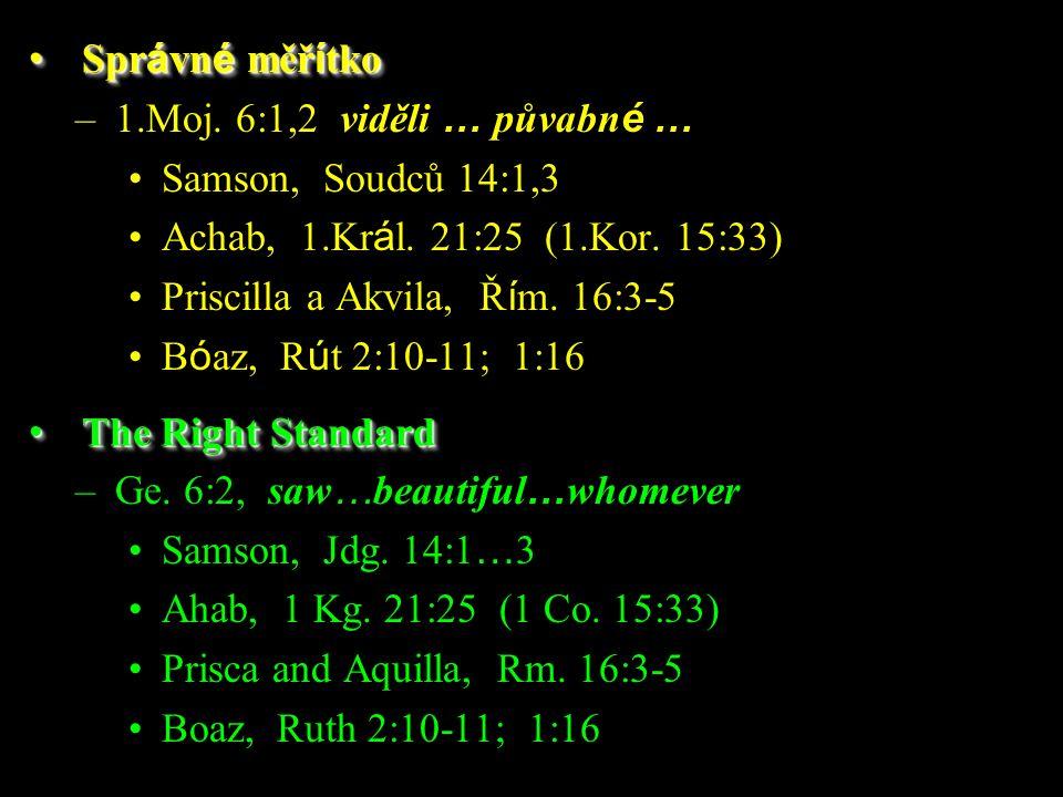 –1.Moj. 6:1,2 viděli … půvabn é … Samson, Soudců 14:1,3 Achab, 1.Kr á l. 21:25 (1.Kor. 15:33) Priscilla a Akvila, Ř í m. 16:3-5 B ó az, R ú t 2:10-11;