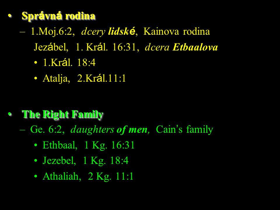 –1.Moj.6:2, dcery lidsk é, Kainova rodina Jez á bel, 1.