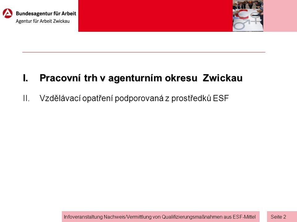 Seite 1 Infoveranstaltung Nachweis/Vermittlung von Qualifizierungsmaßnahmen aus ESF-Mittel I.Pracovní trh v agenturním okresu Zwickau II.Vzdělávací opatření podporovaná z prostředků ESF Agenda