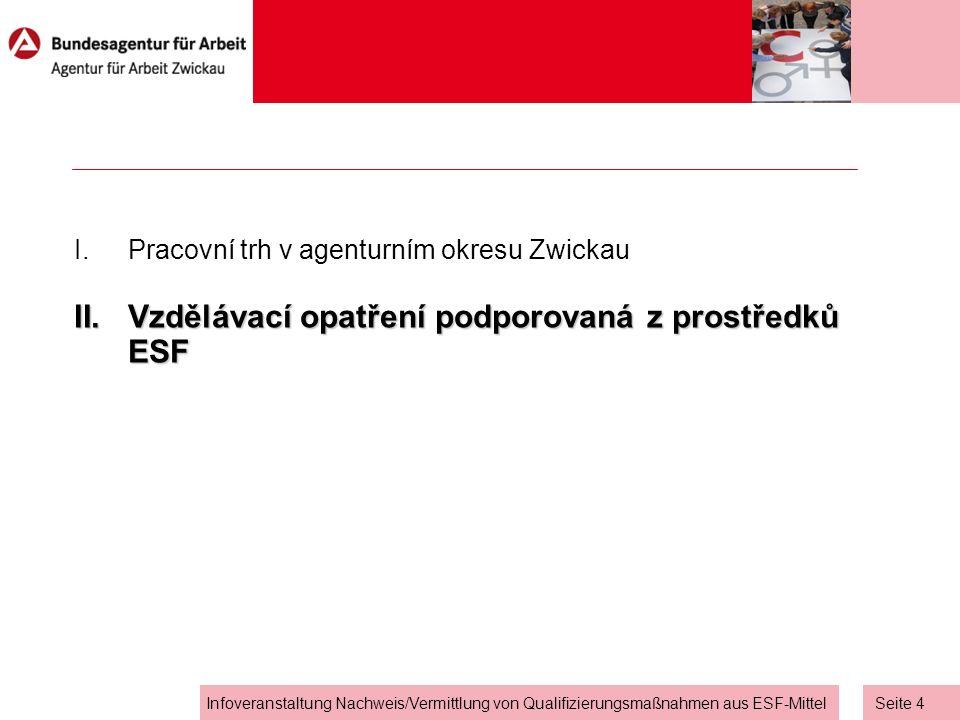 Seite 4 Infoveranstaltung Nachweis/Vermittlung von Qualifizierungsmaßnahmen aus ESF-Mittel I.Pracovní trh v agenturním okresu Zwickau II.Vzdělávací opatření podporovaná z prostředků ESF