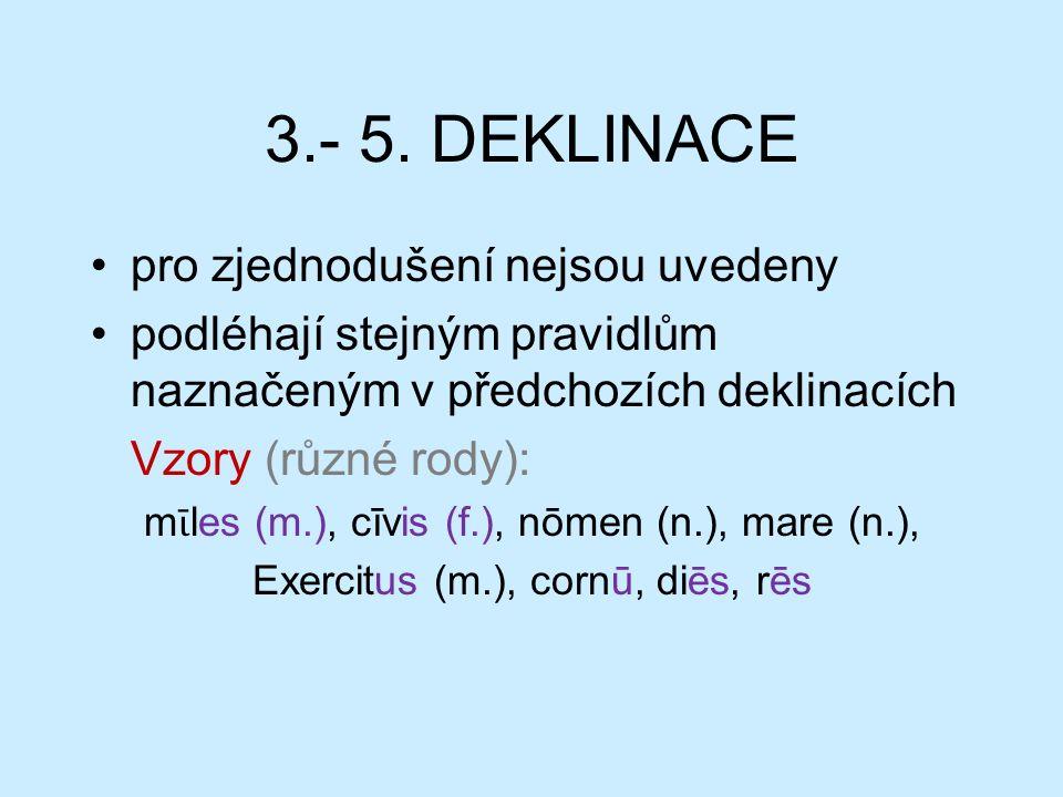 3.- 5. DEKLINACE pro zjednodušení nejsou uvedeny podléhají stejným pravidlům naznačeným v předchozích deklinacích Vzory (různé rody): m ῑ les (m.), cī