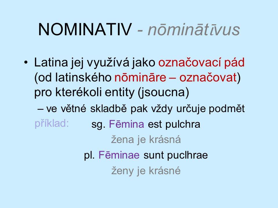 NOMINATIV - nōmināt ῑ vus Latina jej využívá jako označovací pád (od latinského nōmināre – označovat) pro kterékoli entity (jsoucna) –ve větné skladbě pak vždy určuje podmět sg.