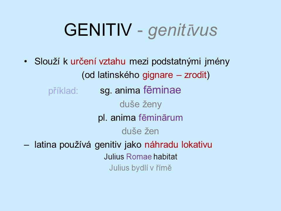 GENITIV - genit ῑ vus Slouží k určení vztahu mezi podstatnými jmény (od latinského gignare – zrodit) sg. anima fēminae duše ženy pl. anima fēminārum d