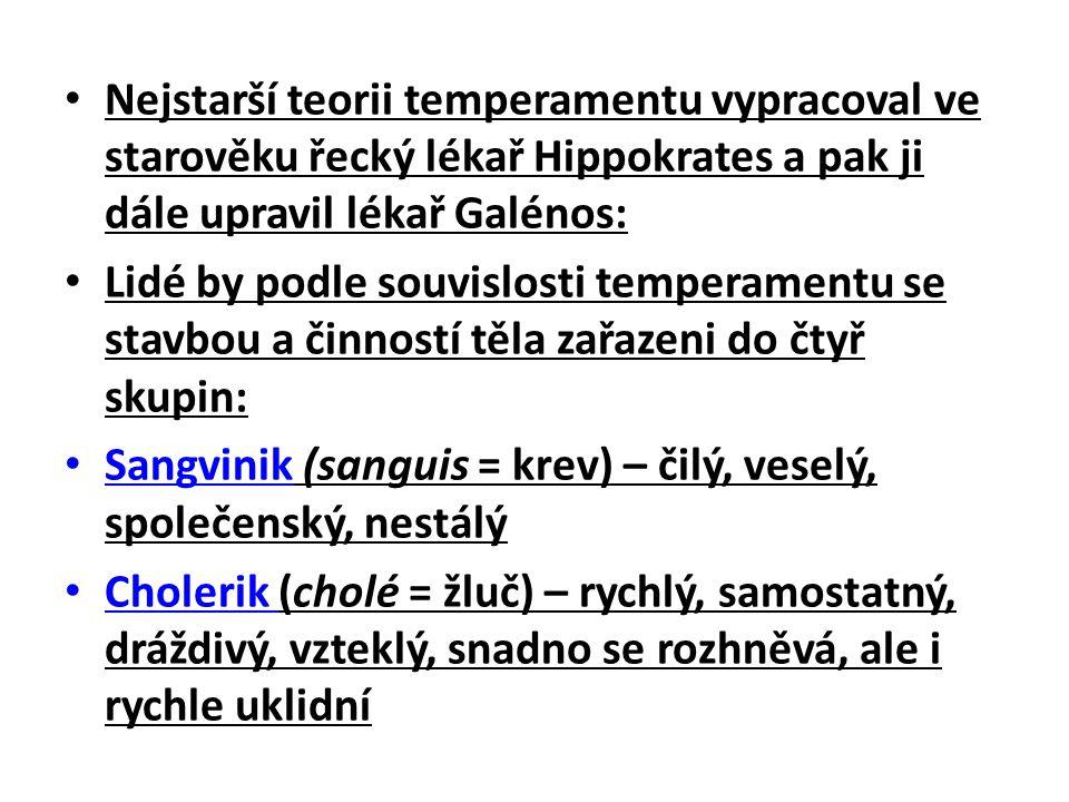 Nejstarší teorii temperamentu vypracoval ve starověku řecký lékař Hippokrates a pak ji dále upravil lékař Galénos: Lidé by podle souvislosti temperamentu se stavbou a činností těla zařazeni do čtyř skupin: Sangvinik (sanguis = krev) – čilý, veselý, společenský, nestálý Cholerik (cholé = žluč) – rychlý, samostatný, dráždivý, vzteklý, snadno se rozhněvá, ale i rychle uklidní