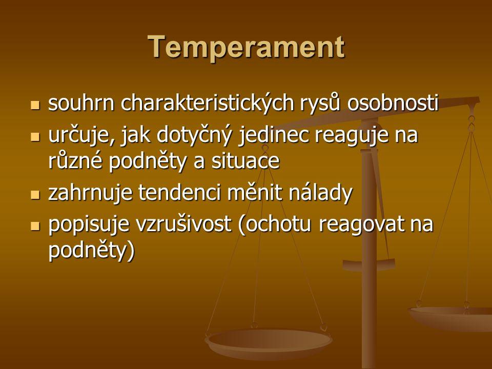 Temperament souhrn charakteristických rysů osobnosti souhrn charakteristických rysů osobnosti určuje, jak dotyčný jedinec reaguje na různé podněty a situace určuje, jak dotyčný jedinec reaguje na různé podněty a situace zahrnuje tendenci měnit nálady zahrnuje tendenci měnit nálady popisuje vzrušivost (ochotu reagovat na podněty) popisuje vzrušivost (ochotu reagovat na podněty)