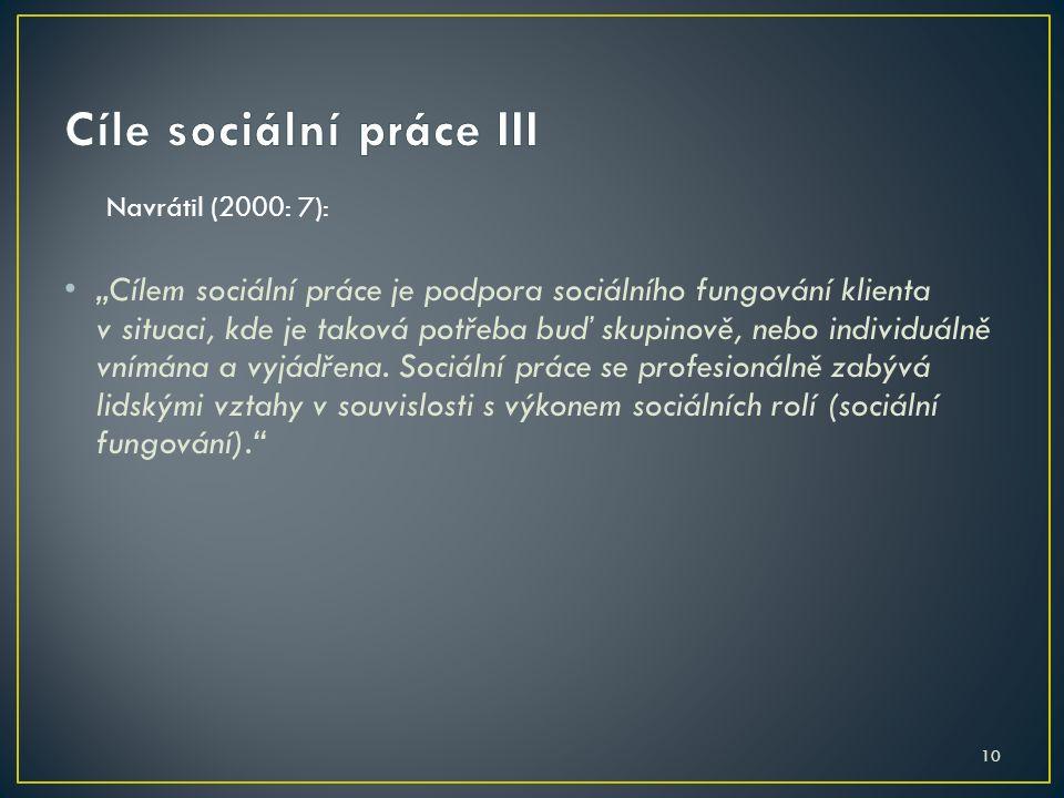 """10 Navrátil (2000: 7): """"Cílem sociální práce je podpora sociálního fungování klienta v situaci, kde je taková potřeba buď skupinově, nebo individuálně"""