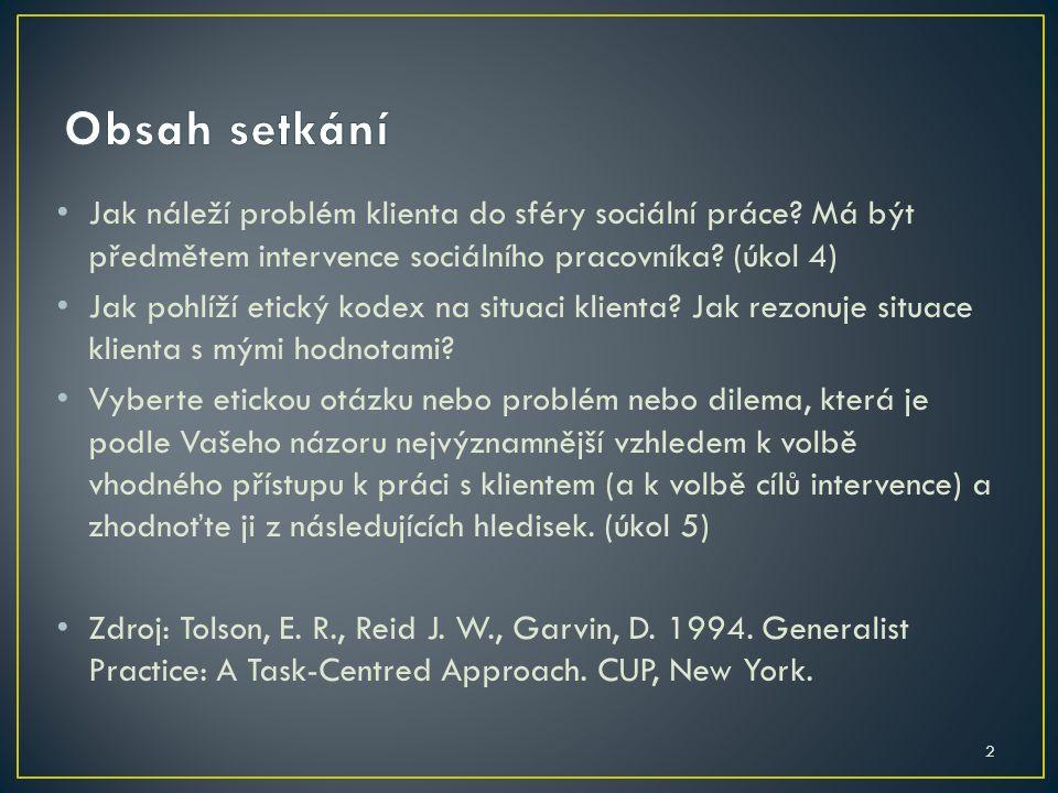 2 Jak náleží problém klienta do sféry sociální práce? Má být předmětem intervence sociálního pracovníka? (úkol 4) Jak pohlíží etický kodex na situaci