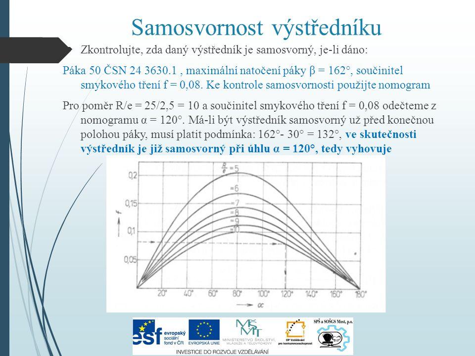  Zkontrolujte, zda daný výstředník je samosvorný, je-li dáno: Páka 50 ČSN 24 3630.1, maximální natočení páky β = 162°, součinitel smykového tření f =