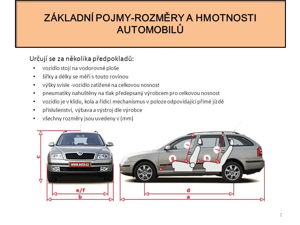 ZÁKLADNÍ POJMY-ROZMĚRY A HMOTNOSTI AUTOMOBILŮ 2 Určují se za několika předpokladů: vozidlo stojí na vodorovné ploše šířky a délky se měří s touto rovinou výšky svisle -vozidlo zatížené na celkovou nosnost pneumatiky nahuštěny na tlak předepsaný výrobcem pro celkovou nosnost vozidlo je v klidu, kola a řídící mechanismus v poloze odpovídající přímé jízdě příslušenství, výbava a výstroj dle výrobce všechny rozměry jsou uvedeny v (mm)