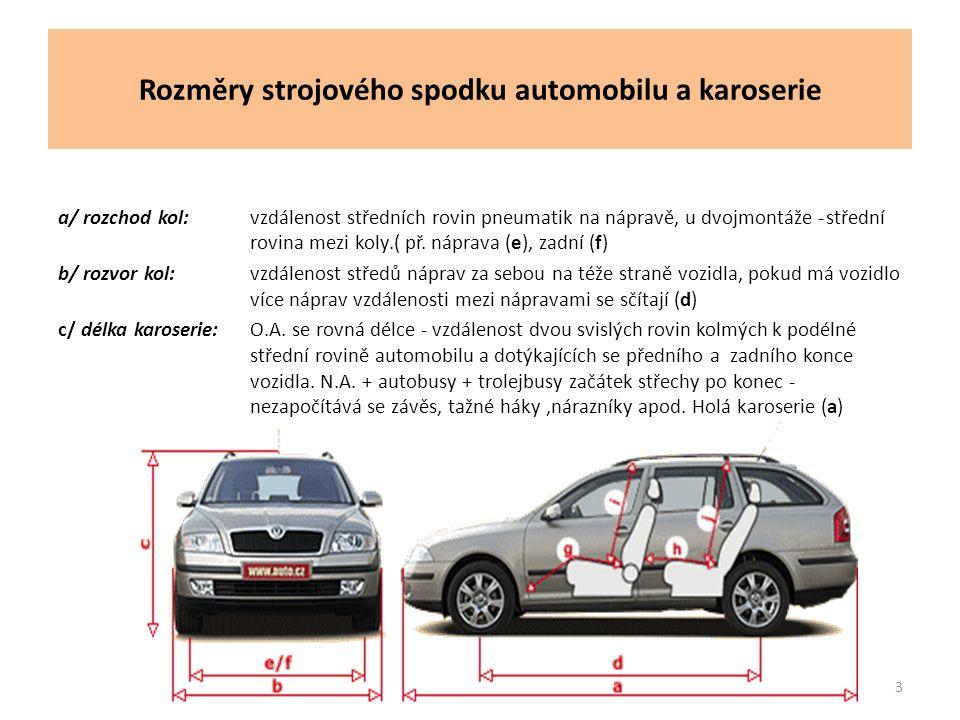 Rozměry strojového spodku automobilu a karoserie a/ rozchod kol:vzdálenost středních rovin pneumatik na nápravě, u dvojmontáže -střední rovina mezi koly.( př.
